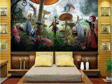 Alice In Wonderland Wall Mural Us $13 86 Off Rozmiar Niestandardowy 3d Fototapeta Salon Dzieci Mural Alicja W Krainie Czar³w 3d Malowanie Tła Wł³kniny Tapeta Na ścianę 3d W