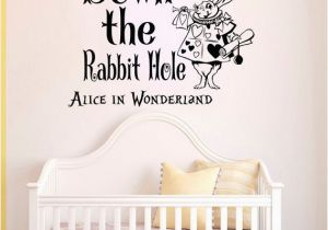 Alice In Wonderland Wall Murals Wall Decals Quotes Alice In Wonderland Down the Rabbit Hole Sayings