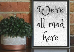 Alice In Wonderland Wall Murals We Re All Mad Here Printable Alice In Wonderland Wall Art Digital