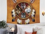 American Indian Wall Murals Blessliving Wolves Dreamcatcher 3d Tapestry Wall Hanging Native
