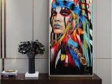 American Indian Wall Murals Native American Indian Girl Canvas Art Wall Paintings Watercolor