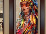 American Indian Wall Murals Wall Art Native American Indian Girl Feather Woman Portrait Canvas