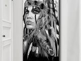 American Indian Wall Murals White and Black Native American Indian Girl Feathered Canvas