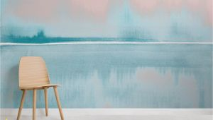 Amidst the Mist Wall Mural Coral and Blue Watercolor Lake Wall Mural In 2019