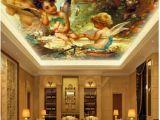 Angel Murals for Walls Custom Ceiling Zenith Mural Wallpaper Cute Angel Oil Painting European Style Living Room Ceiling Zenith Mural Decorative House Wallpaper