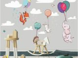 Animal Murals for Nursery Flying Animals Wall Mural Adorable Animals Wallpaper Wall Décor