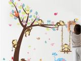 Animal Murals for Nursery forest Animals Tree Wall Stickers for Kids Room Monkey Bear Jungle