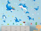 Animal Murals for Nursery Shijuehezi] Dolphin Wall Stickers Animals Cartoon Wall Decals for