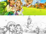 Anime Couple Coloring Pages Cartoon Scene Happy King Od Prince Stock Illustration
