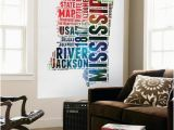 Another Word for Wall Mural Mississippi Watercolor Word Cloud Wall Mural by Naxart