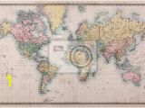 Antique Map Wall Mural Old Antique World Map On Mercators Projection Wall Mural
