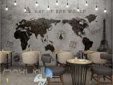 Antique World Map Wall Mural World Map Black White Travel Design Art Wall Murals Wallpaper Decals