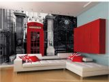 Argos Wall Murals Red British Telephone Box On A Black and White Backdrop Wall Mural