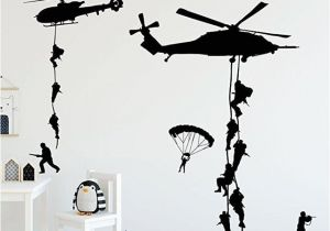 Army Wall Murals Helicopter Army sol R Wall Stickers Vinyl Art Decals Teens Boys