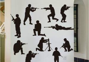 Army Wall Murals Idfiaf Military Army sol R Wall Sticker Guns Wall Decal War