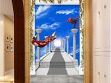 Art Deco Wall Mural 3d Ironman Spider Man Blue Sky Corridor Entrance Wall Mural
