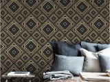 Art Deco Wall Mural Art Deco Removable Wallpaper Black and Golden Tilework Wall