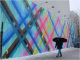 Art Nouveau Wall Murals Maya Hayuk Paints Fluorescent Stripes for Her New Bowery Mural