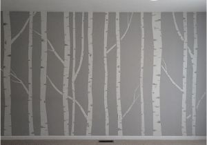 Aspen Tree Wall Mural Hand Painted Birch Tree Wall Mural Made by Taping Off the Trunks