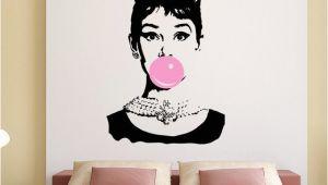 Audrey Hepburn Wall Mural Audrey Hepburn Bubble Gum Beauty Hair Salon Wall Decal Sticker Art