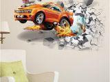Automotive Wall Murals 3d Creative Car Wall Stickers Wall Break Racing Car Wall Paper Vinyl
