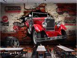 Automotive Wall Murals Custom 3d Wall Paper Retro Red Car Wall Murals Restaurant Cafe