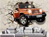 Automotive Wall Murals Custom 3d Wallpaper Car Broken Wall Decorations Living Room