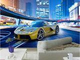 Automotive Wall Murals Custom 3d Wallpaper Stereo City Night View Sports Car Murals