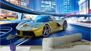 Automotive Wall Murals Custom 3d Wallpaper Stereo City Night View Sports Car Murals