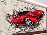 Automotive Wall Murals Custom Mural Wallpaper 3d Red Car Broken Wall Wallpaper