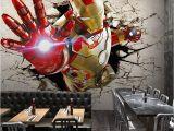 Avengers Full Size Wall Mural 3d Stereo Custom Lo Otive Murals Iron Man Broken Wall