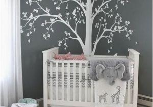 Baby Boy Nursery Murals Baby Bedroom Home Art Decor Cute Huge Tree with Falling Leaves and