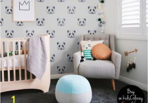 Baby Boy Nursery Murals Panda Wallpaper Watercolor Pastel Pale Wall Mural Kids Room