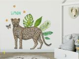 Baby Boy Room Wall Murals Wall Sticker with Name Leopard Kids Room Styling Newborn Baby Child Baby Room 70x50cm Handpainted Watercolor
