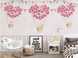 Baby Girl Room Wall Murals Nursery Wallpaper for Kids Pink Hot Air Balloon Wall Mural