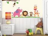 Baby Jungle Safari Wall Mural Details About Safari Animals Nursery Elephant Decal Wall Art
