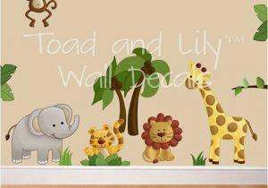 Baby Jungle Safari Wall Mural Fabric Wall Decals Jungle Animal Safari Girls Boys Bedroom