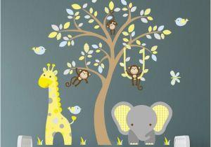 Baby Jungle Safari Wall Mural Jungle Decal Boys Safari Wall Stickers Yellow Blue and