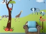 Baby Jungle Safari Wall Mural Jungle Safari Wall Decal Sticker Kit Jumbo Set