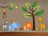 Baby Jungle Safari Wall Mural Jungle Wall Decals Tree Zebra Elephant Monkey by