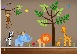 Baby Jungle Safari Wall Mural Jungle Wall Decals Tree Zebra Elephant Monkey by