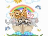 Baby Jungle Safari Wall Mural Noahs Ark Mural Wall Art Decal Safari Jungle Animal Nursery
