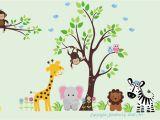 Baby Jungle Wall Murals Baby Nursery Wall Decals Jungle Safari Tree & Animals Repositionable