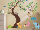 Baby Jungle Wall Murals Oversize Jungle Animals Tree Monkey Owl Removable Wall Decal