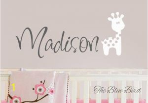 Baby Name Wall Murals Children Giraffe Name Decal Girl Name Wall Decal Nursery Decor Girl Birds Name Decal Gilrs Name Decal Baby Decals Giraffe Decal