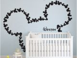 Baby Name Wall Murals Mice Ears Children Wall Decal Mickey Mouse Head Custom Baby Name Wall Stickers Nursery Kids Teen Girl Decals Kid Boys Room Decor H851
