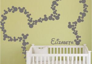Baby Name Wall Murals Mickey Mouse Wall Stickers Personalized Baby Name