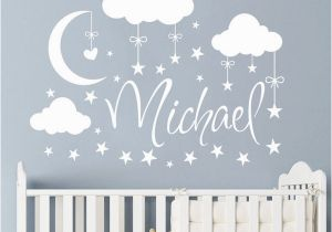 Baby Name Wall Murals Personalized Name Wall Decal Clouds Moon Stars Wall Sticker Babys Bedroom Decor Customized Name Vinyl Nursery Wall Mural the Wall Stickers Tinkerbell