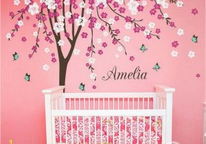 Baby Name Wall Murals Plum Flower Blossom Tree butterfly Personalized Custom Name
