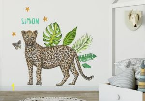 Baby Name Wall Murals Wall Sticker with Name Leopard Kids Room Styling Newborn Baby Child Baby Room 70x50cm Handpainted Watercolor